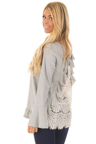 Heather Grey Long Sleeve Top with Open Lace Back back side close up