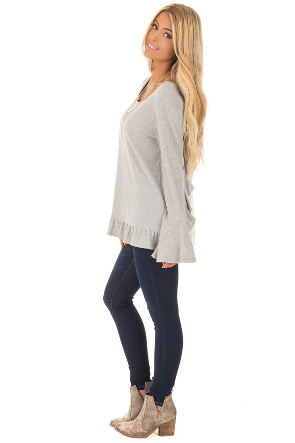 Heather Grey Long Sleeve Top with Open Lace Back side full body