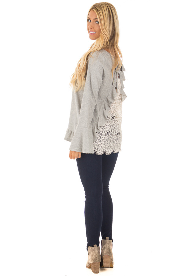 Heather Grey Long Sleeve Top with Open Lace Back back side full body