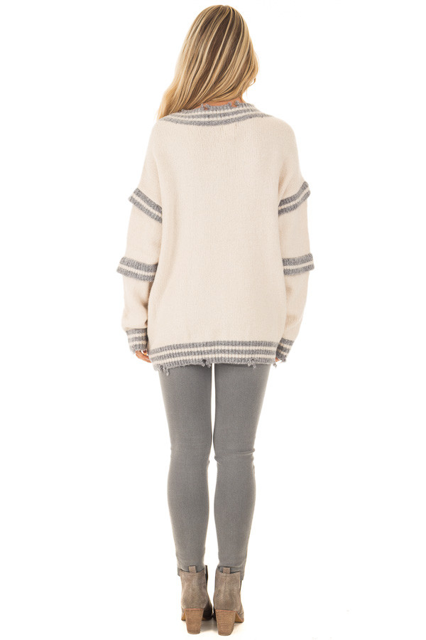 Cream and Grey Varsity Sweater with Distressed Details back full body
