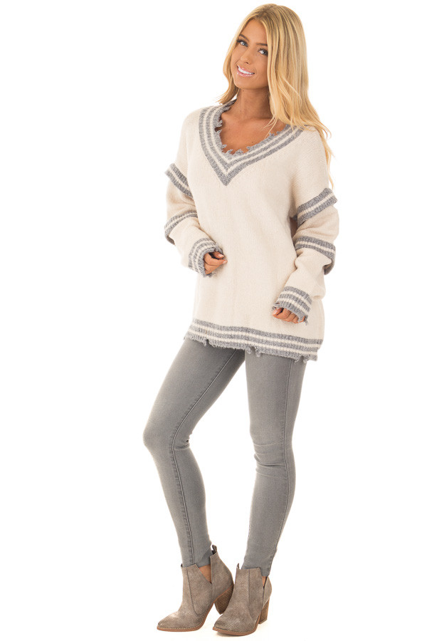 Cream and Grey Varsity Sweater with Distressed Details front full body