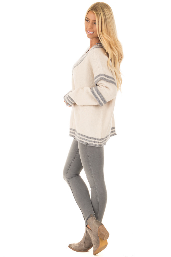 Cream and Grey Varsity Sweater with Distressed Details side full body
