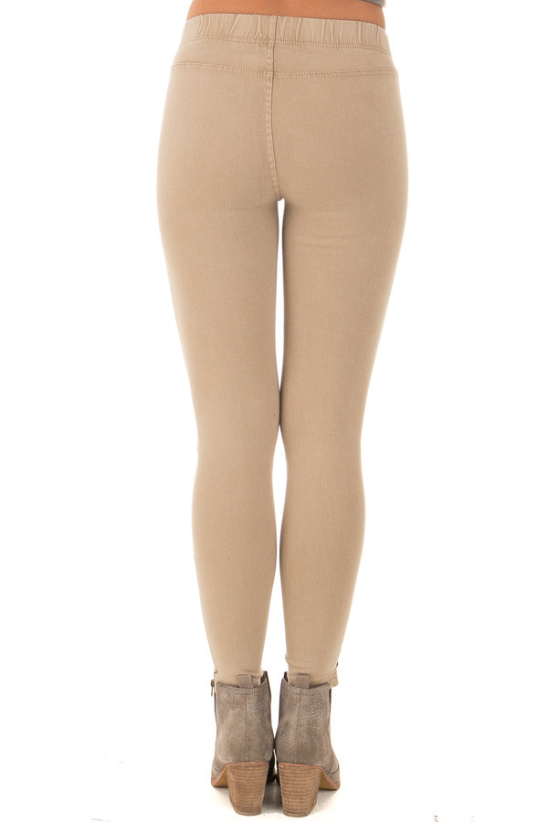 Khaki Moto Jeggings with Side Zipper Detail back view