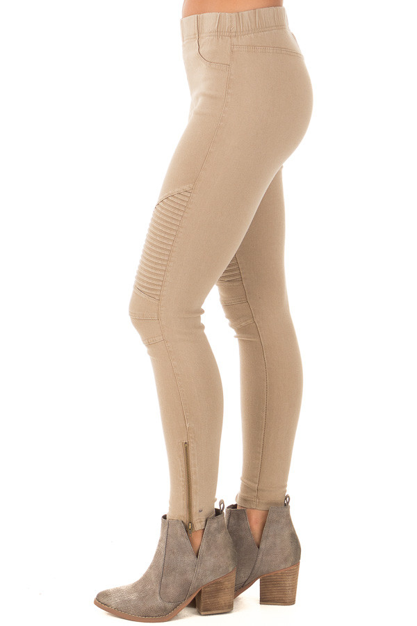 Khaki Moto Jeggings with Side Zipper Detail side view