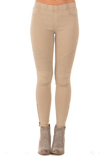 Khaki Moto Jeggings with Side Zipper Detail front view