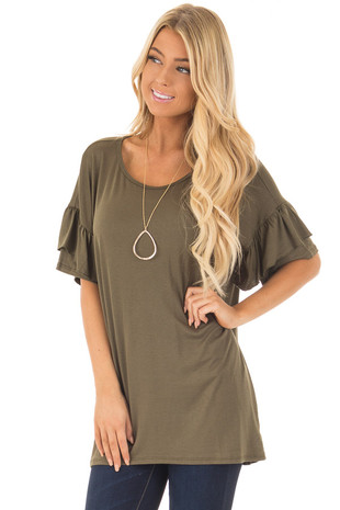 Olive Ruffle Short Sleeve Top front close up