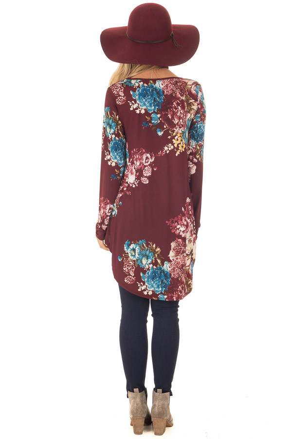 Burgundy Floral Slinky Long Sleeve Baby Doll Tunic Top back full body