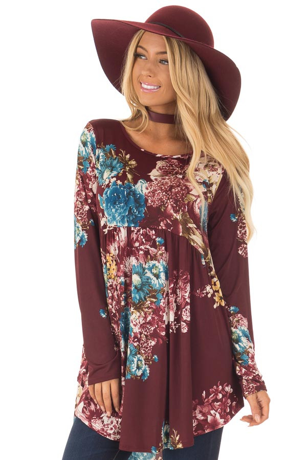 Burgundy Floral Slinky Long Sleeve Baby Doll Tunic Top front close up