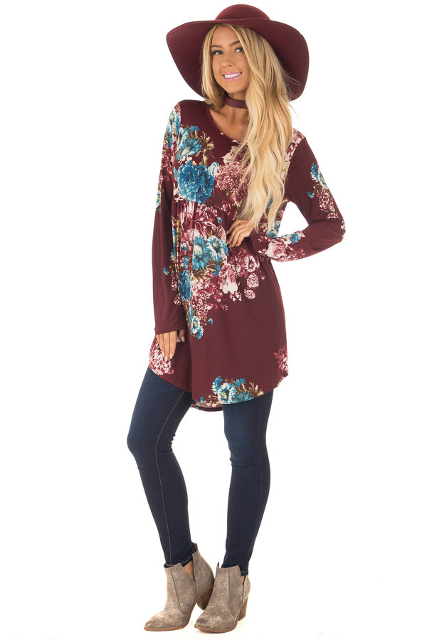 Burgundy Floral Slinky Long Sleeve Baby Doll Tunic Top front full body
