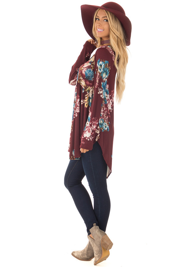 Burgundy Floral Slinky Long Sleeve Baby Doll Tunic Top side full body
