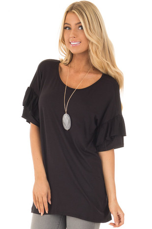 Black Ruffle Short Sleeve Top front close up
