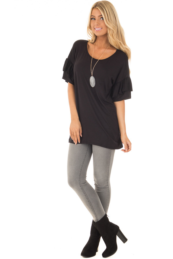 Black Ruffle Short Sleeve Top front full body