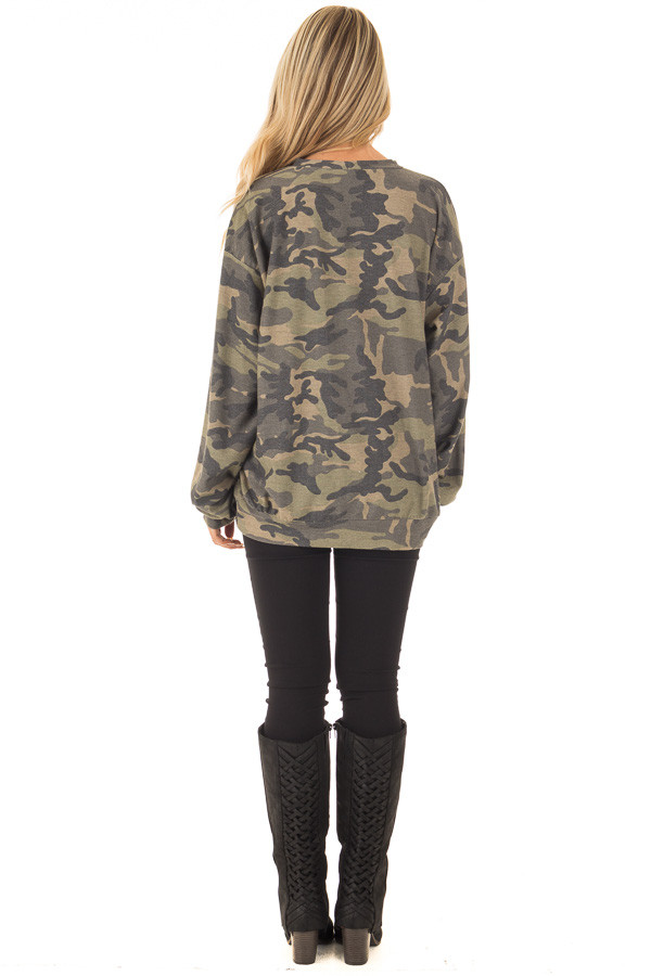 Camo Cut Out V Neck Sweatshirt with Black Bull Graphic back full body