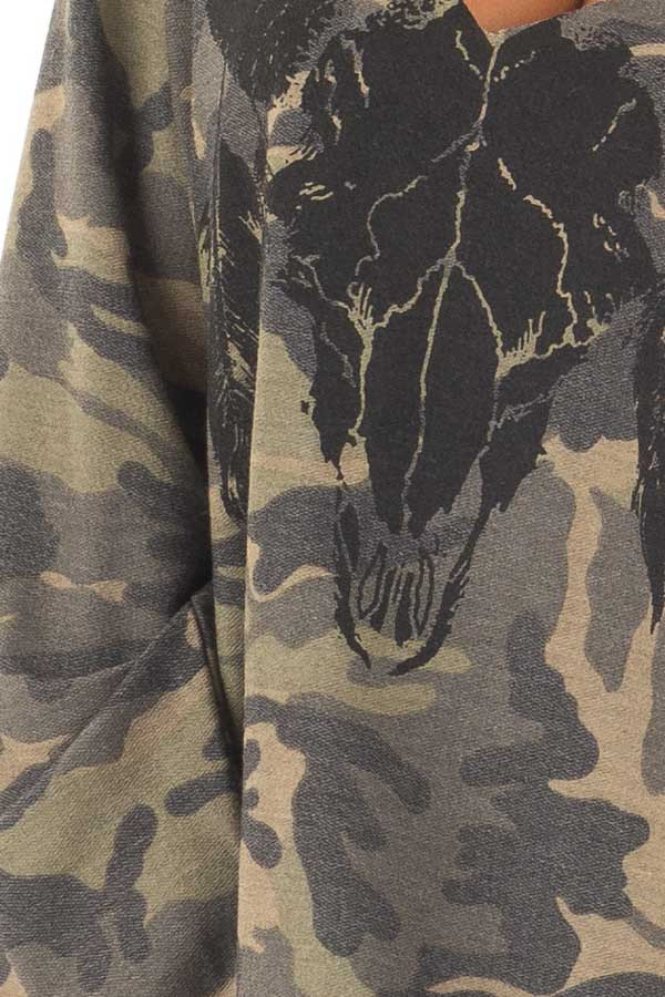Camo Cut Out V Neck Sweatshirt with Black Bull Graphic detail
