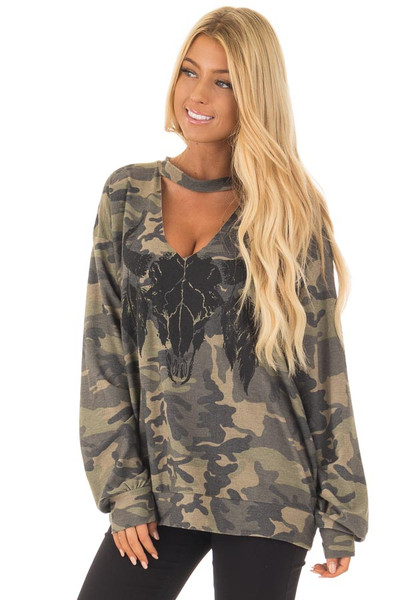 Camo Cut Out V Neck Sweatshirt with Black Bull Graphic front close up