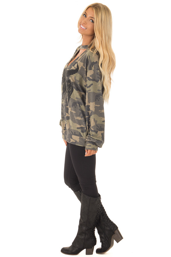 Camo Cut Out V Neck Sweatshirt with Black Bull Graphic side full body