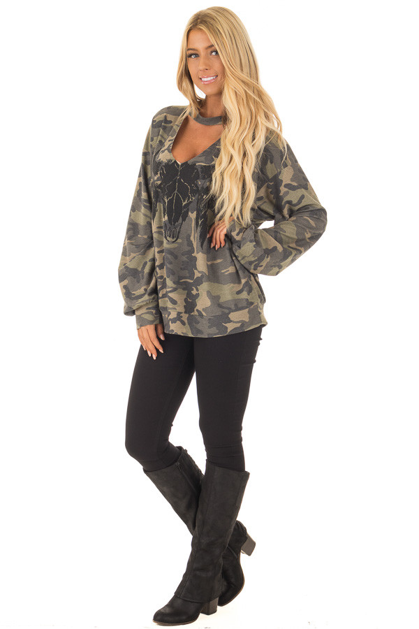 Camo Cut Out V Neck Sweatshirt with Black Bull Graphic front full body