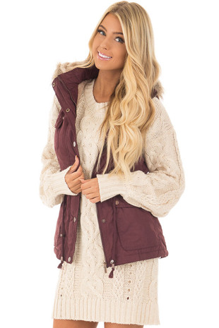 Wine Drawstring Zip Up Cargo Vest with Furry Hoodie front close up