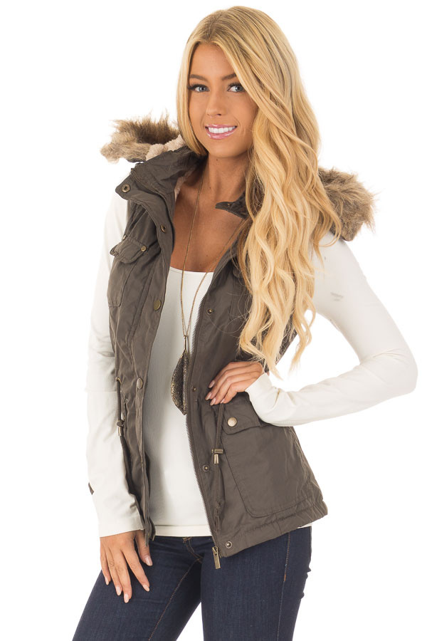 Forest Green Drawstring Zip Up Cargo Vest with Furry Hoodie front close up