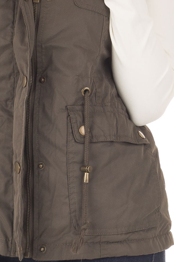 Forest Green Drawstring Zip Up Cargo Vest with Furry Hoodie detail