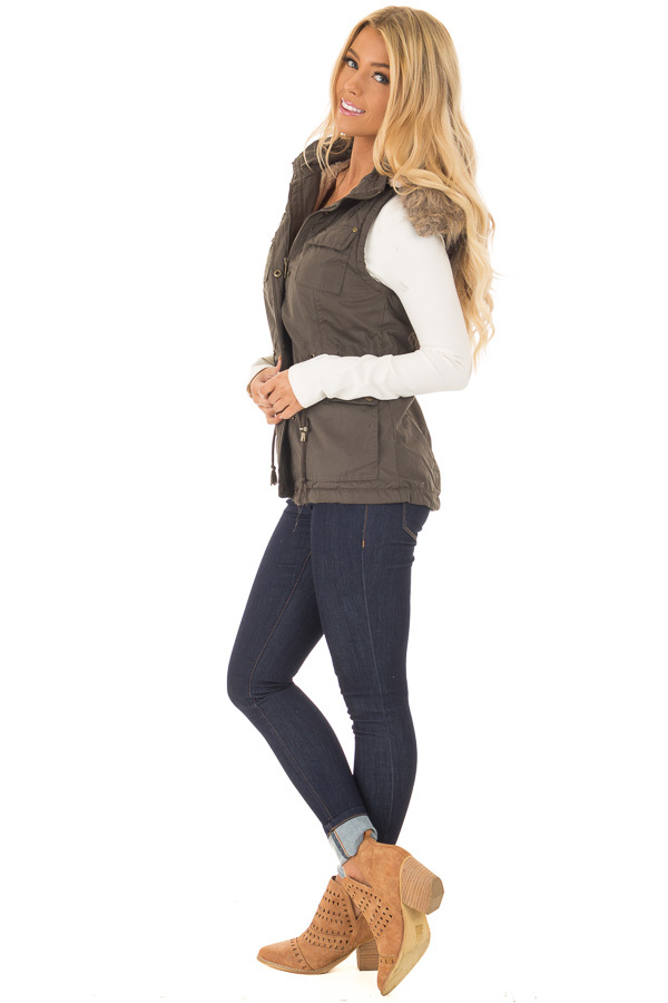 Forest Green Drawstring Zip Up Cargo Vest with Furry Hoodie side full body