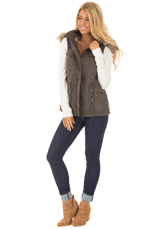 Forest Green Drawstring Zip Up Cargo Vest with Furry Hoodie front full body
