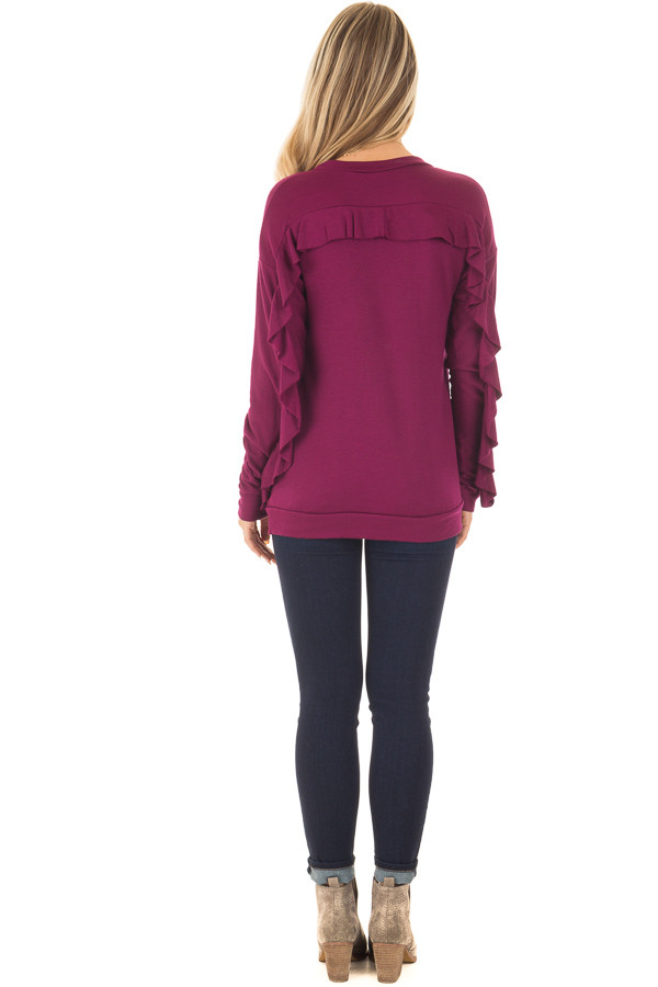 Berry Soft Long Sleeve Top with Back Ruffle Detail back full body