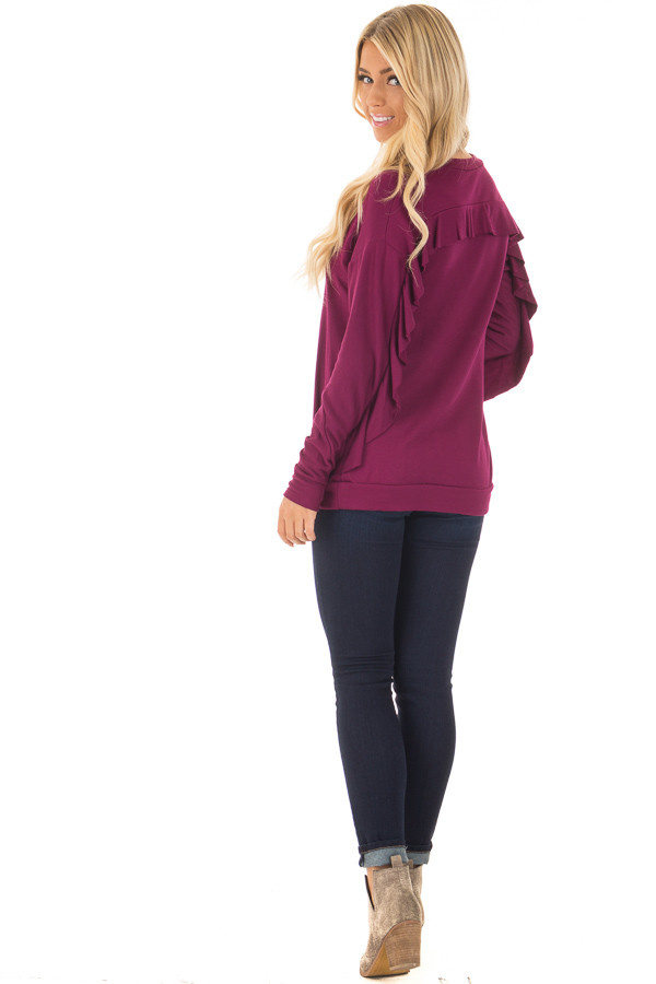 Berry Soft Long Sleeve Top with Back Ruffle Detail back side full body