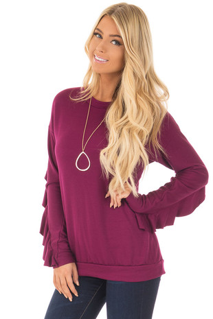 Berry Soft Long Sleeve Top with Back Ruffle Detail front close up