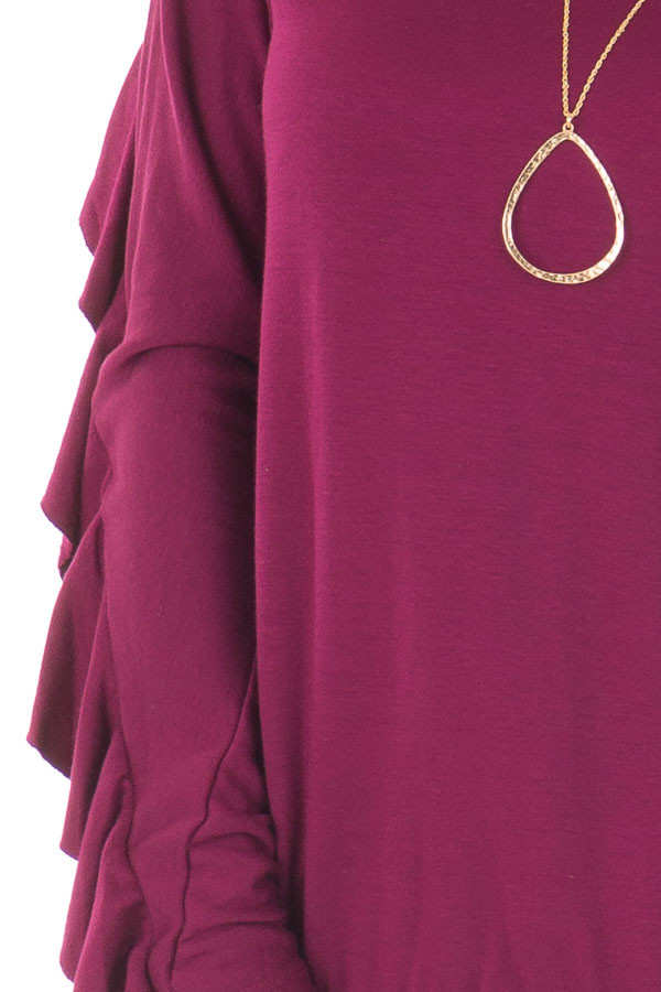 Berry Soft Long Sleeve Top with Back Ruffle Detail detail