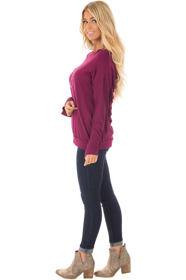 Berry Soft Long Sleeve Top with Back Ruffle Detail side full body