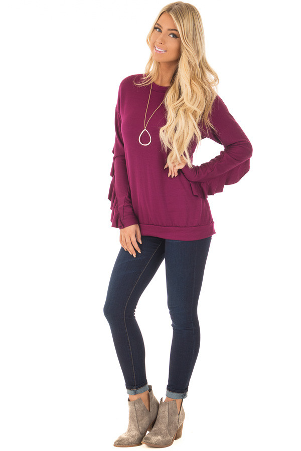 Berry Soft Long Sleeve Top with Back Ruffle Detail front full body
