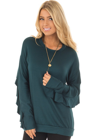 Teal Soft Long Sleeve Top with Back Ruffle Detail front close up