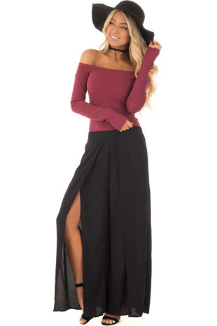 Black Flowy Pants with Front Slits front full body