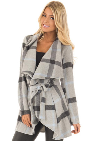 Light Grey Plaid Jacket with Waist Tie front close up