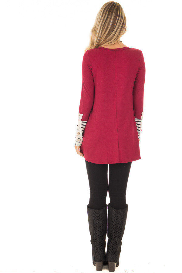 Burgundy Long Sleeve Top with Black and White Stripe Cuffs back full body