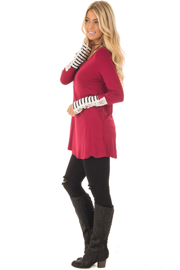 Burgundy Long Sleeve Top with Black and White Stripe Cuffs side full body