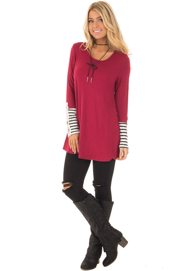 Burgundy Long Sleeve Top with Black and White Stripe Cuffs front full body