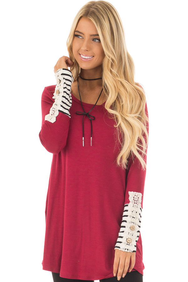 Burgundy Long Sleeve Top with Black and White Stripe Cuffs front close up