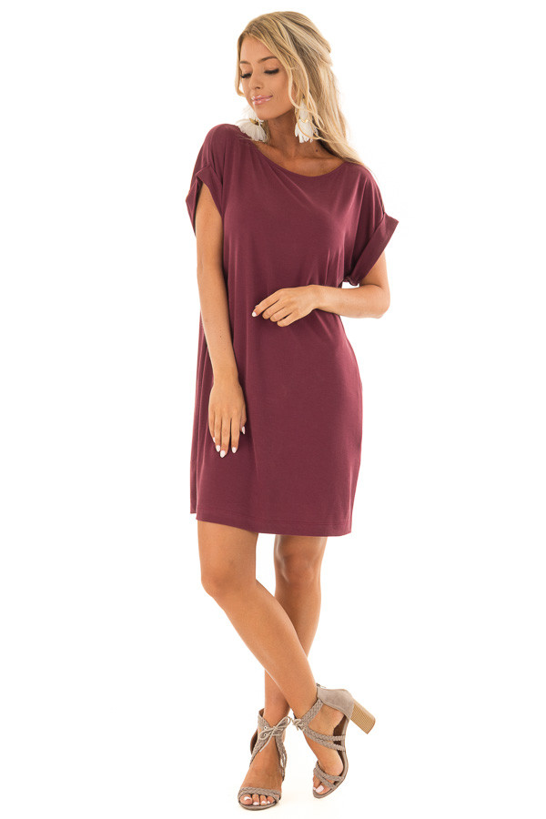 Burgundy Short Sleeve Dress with Side Pockets front full body