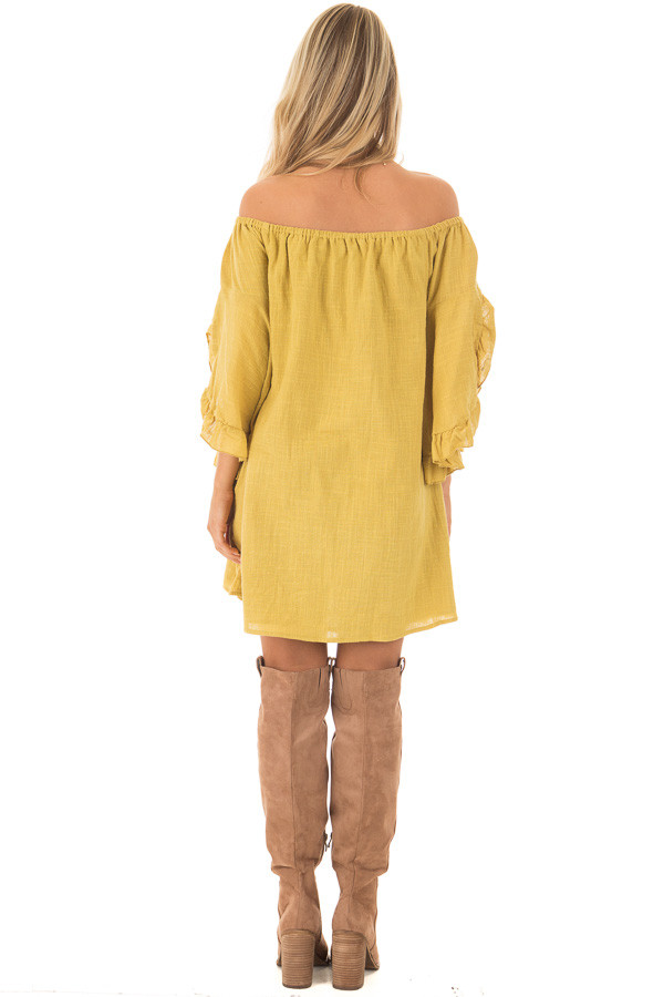 Sunflower Off the Shoulder Dress with Flowy Sleeves back full body