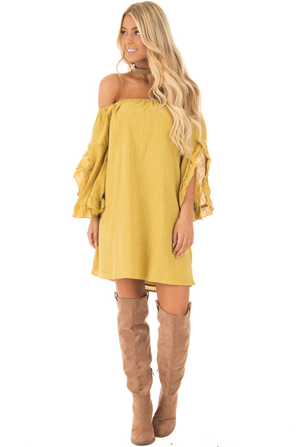 Sunflower Off the Shoulder Dress with Flowy Sleeves front full body