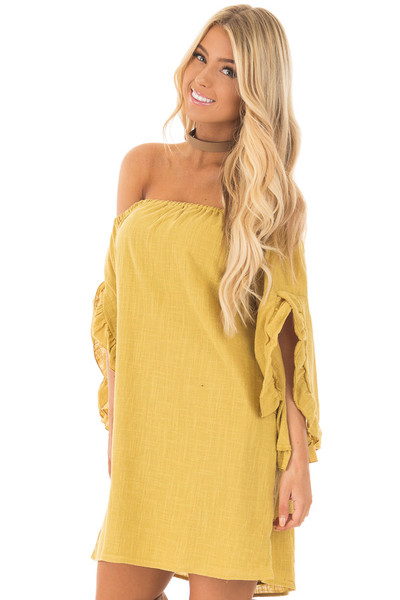 Sunflower Off the Shoulder Dress with Flowy Sleeves front close up