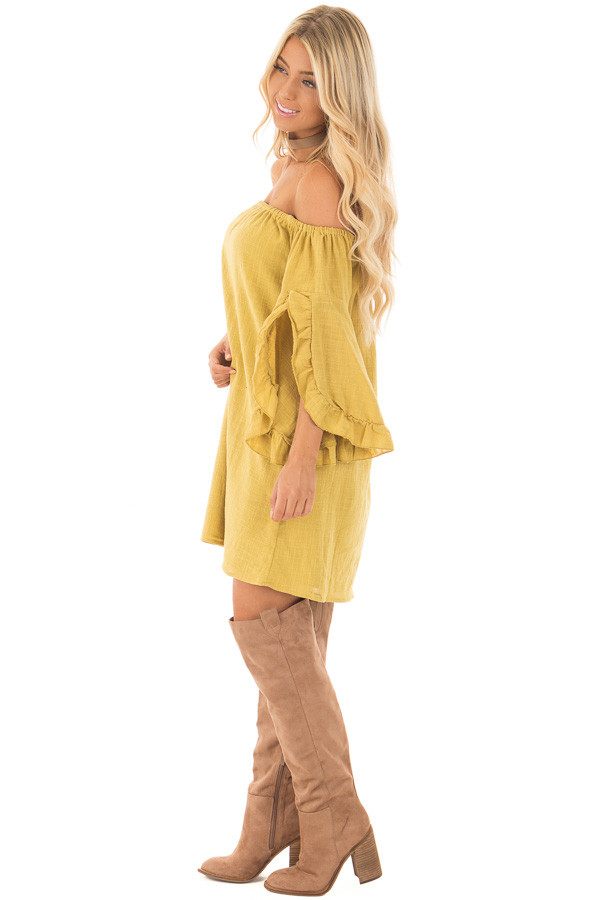 Sunflower Off the Shoulder Dress with Flowy Sleeves side full body