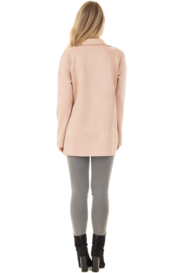 Blush Super Soft Faux Suede Jacket back full body