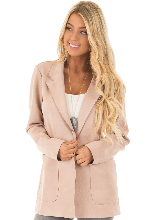 Blush Super Soft Faux Suede Jacket front close up