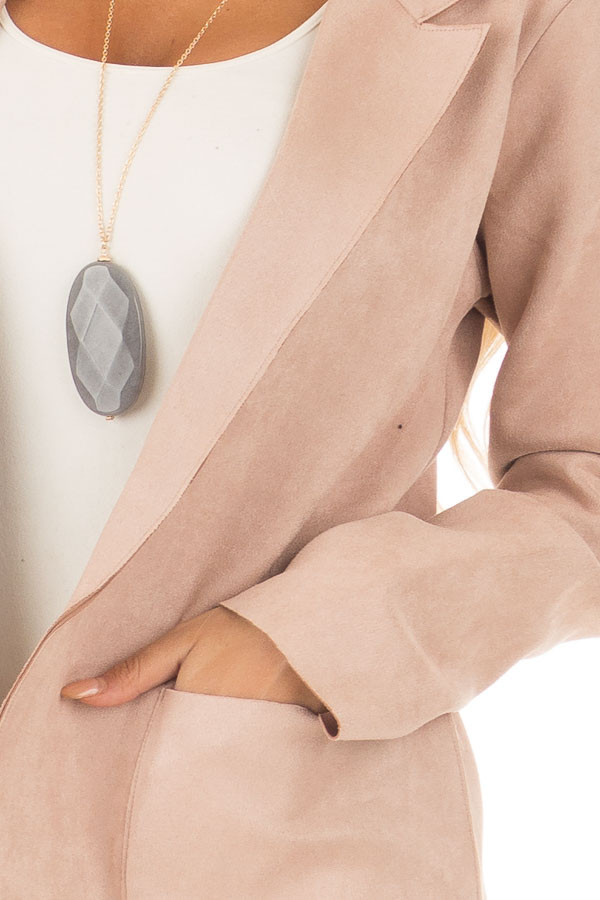 Blush Super Soft Faux Suede Jacket detail