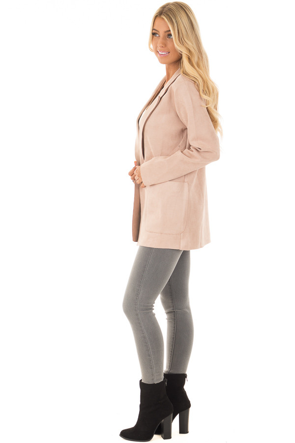 Blush Super Soft Faux Suede Jacket side full body