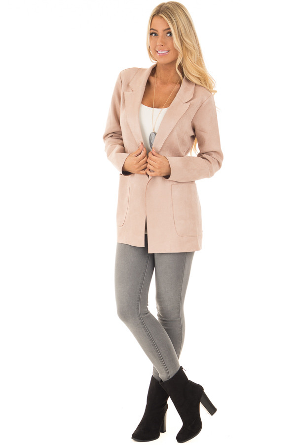Blush Super Soft Faux Suede Jacket front full body