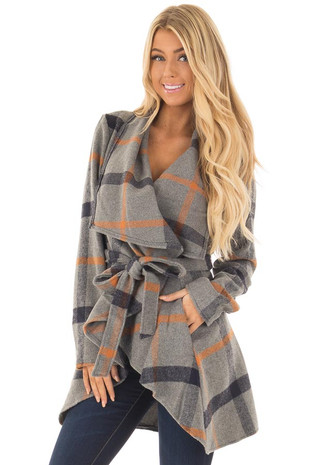 Grey and Navy Plaid Jacket with Waist Tie front close up